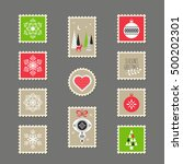 stamps with christmas motifs | Shutterstock .eps vector #500202301