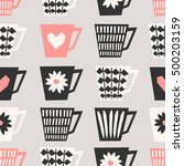 mid century style seamless... | Shutterstock .eps vector #500203159