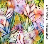 floral watercolor seamless... | Shutterstock . vector #500212375