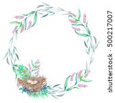 circle frame  wreath with... | Shutterstock . vector #500217007