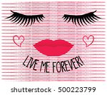 long lashes and red lips... | Shutterstock .eps vector #500223799