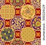 seamless floral beautiful batik ... | Shutterstock . vector #500224129