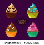 halloween cupcakes.vector 10eps.... | Shutterstock .eps vector #500227801