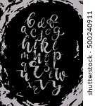 vector grey alphabet on grunge... | Shutterstock .eps vector #500240911