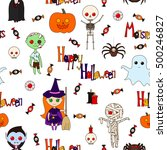 seamless pattern with cute... | Shutterstock .eps vector #500246827