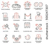 vector set of 16 thin icons... | Shutterstock .eps vector #500247307
