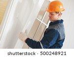 carpenter worker at door...   Shutterstock . vector #500248921