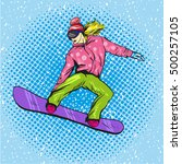 woman snowboarding in mountains.... | Shutterstock .eps vector #500257105