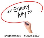 Small photo of Women Hand writing Enemy - Ally with black marker on visual screen. Isolated on white. Business, technology, internet concept. Stock Photo