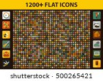 huge set flat icons for web ... | Shutterstock .eps vector #500265421