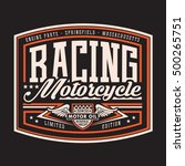 motorcycle racing typography  t ... | Shutterstock .eps vector #500265751