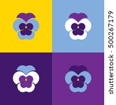 set of vector geometric pansies.... | Shutterstock .eps vector #500267179