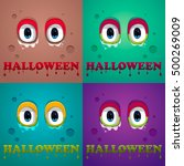 halloween. monster eyes. vector ... | Shutterstock .eps vector #500269009