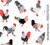 Seamless Texture With Roosters...
