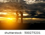 silhouette romantic couple in... | Shutterstock . vector #500275231