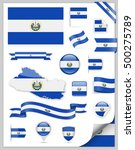 el salvador flag set   vector... | Shutterstock .eps vector #500275789