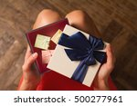 top view woman opening a... | Shutterstock . vector #500277961