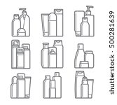 set of cosmetic icons on a... | Shutterstock .eps vector #500281639