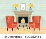 interior living room. fireplace ...   Shutterstock .eps vector #500282461