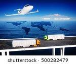 global logistics   3d render | Shutterstock . vector #500282479