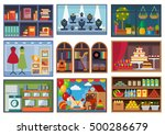 set of vector restaurants and... | Shutterstock .eps vector #500286679