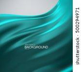 turquoise silk fabric. vector... | Shutterstock .eps vector #500294971