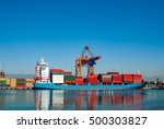 loaded container ship at the... | Shutterstock . vector #500303827