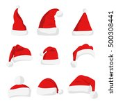 santa claus red hat silhouette. ... | Shutterstock .eps vector #500308441