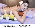 asian woman getting thai herbal ... | Shutterstock . vector #500309281