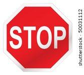 red stop road sign illustration ... | Shutterstock .eps vector #50031112