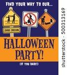 halloween zombie party vector... | Shutterstock .eps vector #500313169