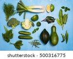 raw detox green vegetable and... | Shutterstock . vector #500316775