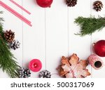 christmas sill life on the... | Shutterstock . vector #500317069