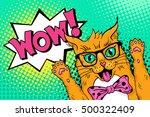 wow pop art cat face. funny... | Shutterstock .eps vector #500322409