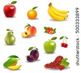 fresh juicy fruit and berries... | Shutterstock . vector #500333899
