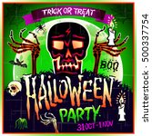 halloween party design template ... | Shutterstock . vector #500337754