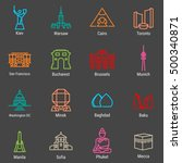 kiev  warsaw  cairo  toronto ... | Shutterstock .eps vector #500340871