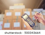 worker checking and scanning...   Shutterstock . vector #500343664