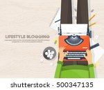 workplace with typewriter. flat ... | Shutterstock .eps vector #500347135