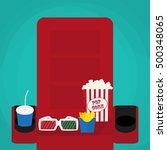 spilled popcorn on a green... | Shutterstock . vector #500348065
