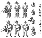 set of monochrome knights in...   Shutterstock . vector #500349589