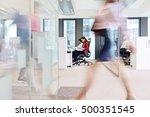 blurred motion of businesswoman ... | Shutterstock . vector #500351545