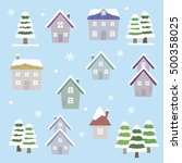 set of winter houses   vector... | Shutterstock .eps vector #500358025