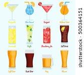 drinks set with different beers ... | Shutterstock .eps vector #500364151