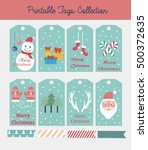 merry christmas set of greeting ... | Shutterstock .eps vector #500372635