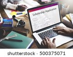 scholarship application... | Shutterstock . vector #500375071