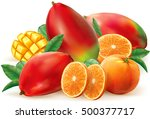 orange and mango fruits with... | Shutterstock .eps vector #500377717