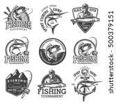 Set Of Vintage Fishing Emblems...