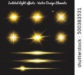 vector set of golden light... | Shutterstock .eps vector #500383531