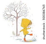 cute smiling girl jumping in... | Shutterstock .eps vector #500386765